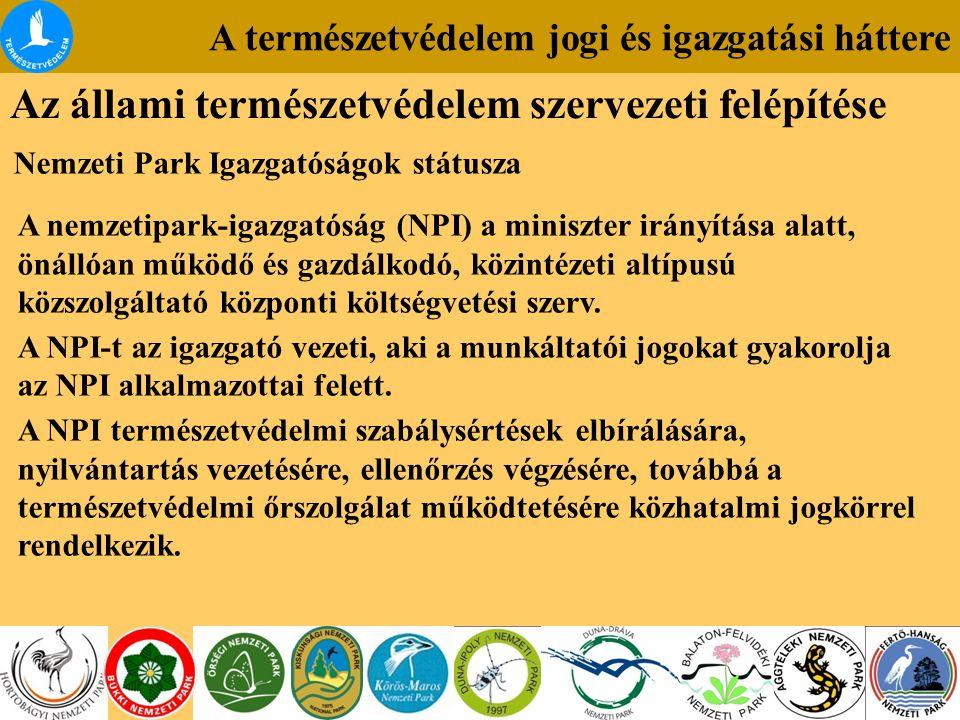 A nemzetipark-igazgatóság (NPI) a miniszter irányítása alatt, önállóan működő és gazdálkodó, közintézeti altípusú közszolgáltató központi költségvetés