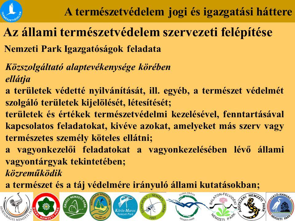 A természetvédelem jogi és igazgatási háttere Az állami természetvédelem szervezeti felépítése Nemzeti Park Igazgatóságok feladata Közszolgáltató alaptevékenysége körében ellátja a területek védetté nyilvánítását, ill.