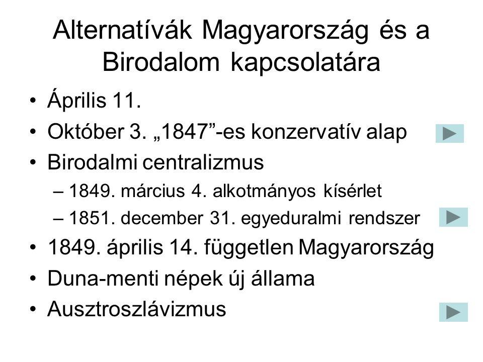"""Alternatívák Magyarország és a Birodalom kapcsolatára Április 11. Október 3. """"1847""""-es konzervatív alap Birodalmi centralizmus –1849. március 4. alkot"""