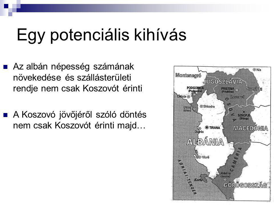 Egy potenciális kihívás Az albán népesség számának növekedése és szállásterületi rendje nem csak Koszovót érinti A Koszovó jövőjéről szóló döntés nem csak Koszovót érinti majd…