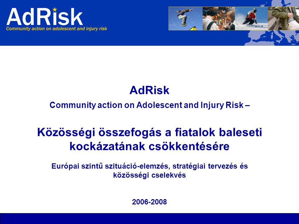 AdRisk Community action on Adolescent and Injury Risk – Közösségi összefogás a fiatalok baleseti kockázatának csökkentésére Európai szintű szituáció-elemzés, stratégiai tervezés és közösségi cselekvés 2006-2008