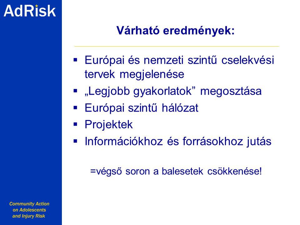 """Várható eredmények:  Európai és nemzeti szintű cselekvési tervek megjelenése  """"Legjobb gyakorlatok megosztása  Európai szintű hálózat  Projektek  Információkhoz és forrásokhoz jutás =végső soron a balesetek csökkenése."""