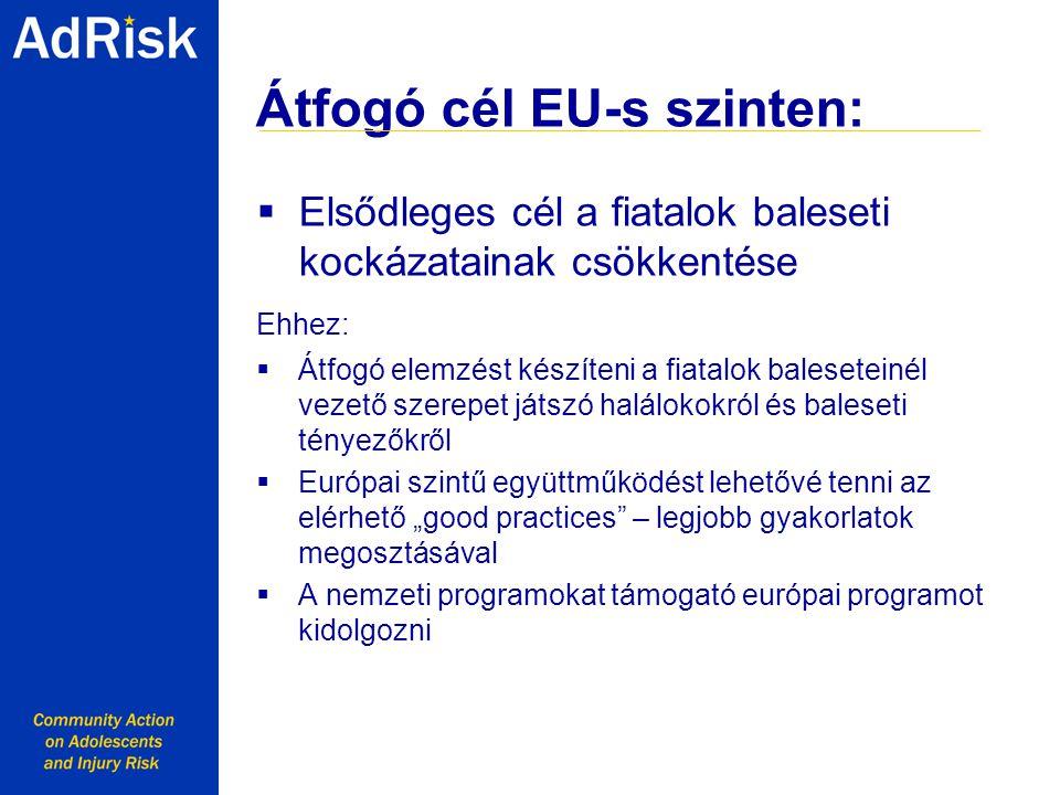 """Átfogó cél EU-s szinten:  Elsődleges cél a fiatalok baleseti kockázatainak csökkentése Ehhez:  Átfogó elemzést készíteni a fiatalok baleseteinél vezető szerepet játszó halálokokról és baleseti tényezőkről  Európai szintű együttműködést lehetővé tenni az elérhető """"good practices – legjobb gyakorlatok megosztásával  A nemzeti programokat támogató európai programot kidolgozni Working together with Youth for a safer Europe"""