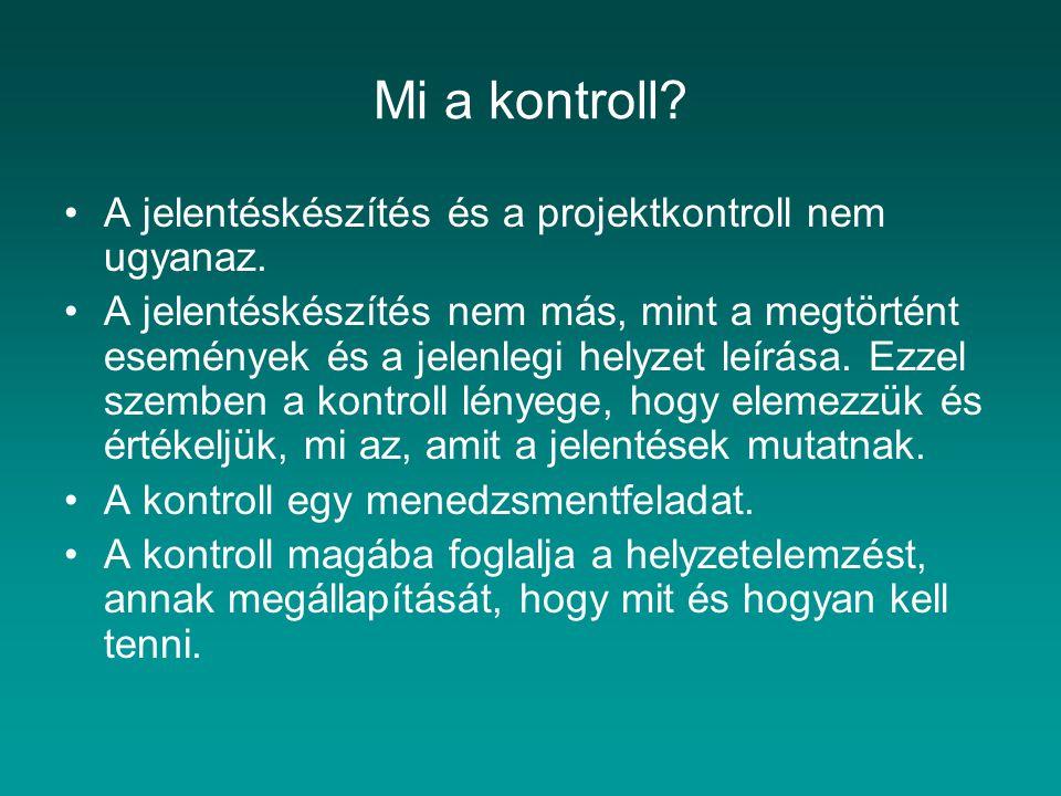 Mi a kontroll? A jelentéskészítés és a projektkontroll nem ugyanaz. A jelentéskészítés nem más, mint a megtörtént események és a jelenlegi helyzet leí