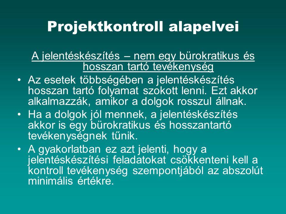 Projektkontroll alapelvei A jelentéskészítés – nem egy bürokratikus és hosszan tartó tevékenység Az esetek többségében a jelentéskészítés hosszan tart