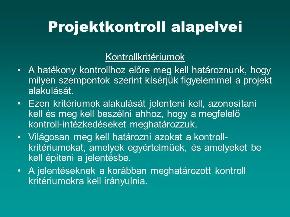 Projektkontroll alapelvei Kontrollkritériumok A hatékony kontrollhoz előre meg kell határoznunk, hogy milyen szempontok szerint kísérjük figyelemmel a