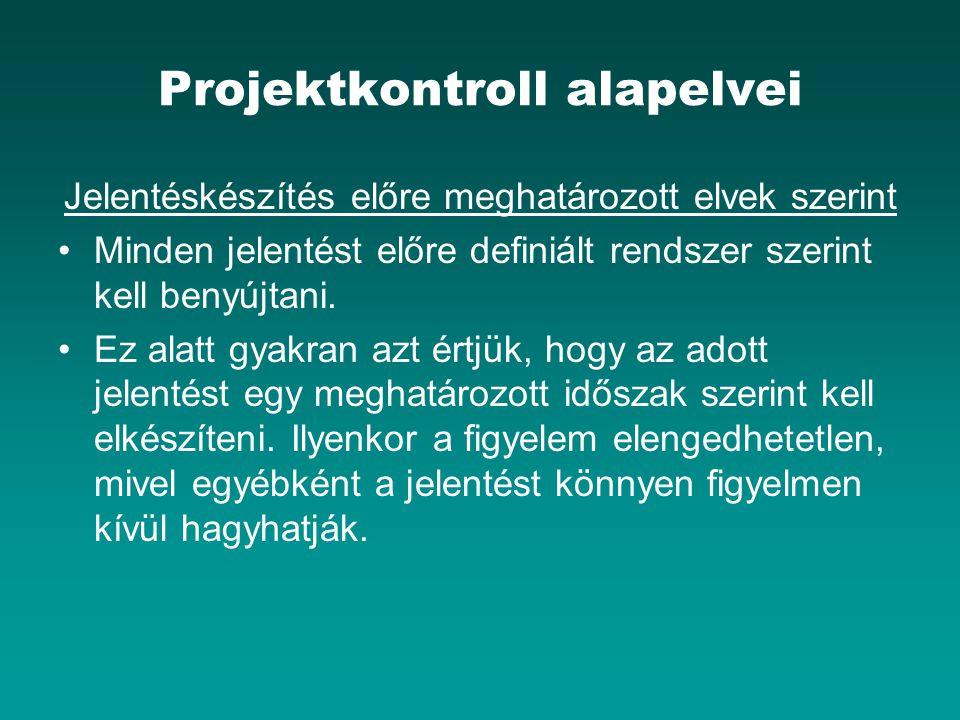 Projektkontroll alapelvei Jelentéskészítés előre meghatározott elvek szerint Minden jelentést előre definiált rendszer szerint kell benyújtani.