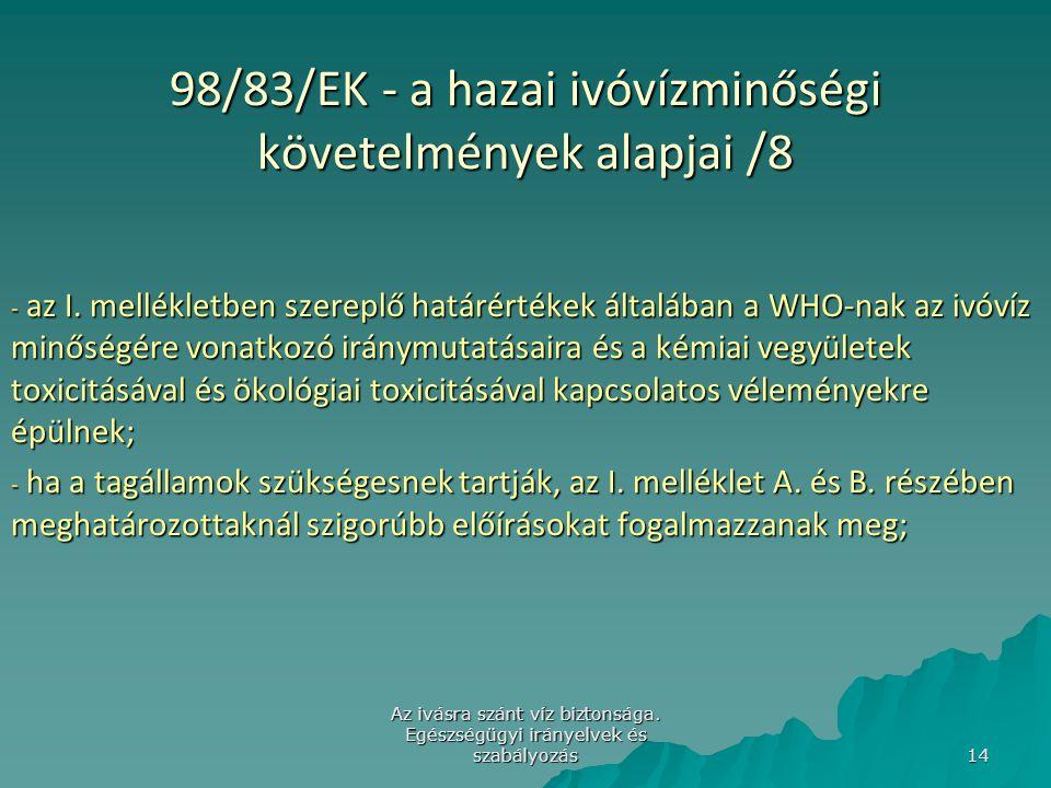 Az ivásra szánt víz biztonsága. Egészségügyi irányelvek és szabályozás 14 98/83/EK - a hazai ivóvízminőségi követelmények alapjai /8 - az I. melléklet