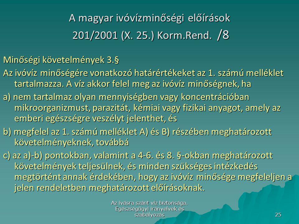 Az ivásra szánt víz biztonsága. Egészségügyi irányelvek és szabályozás 25 A magyar ivóvízminőségi előírások 201/2001 (X. 25.) Korm.Rend. /8 Minőségi k