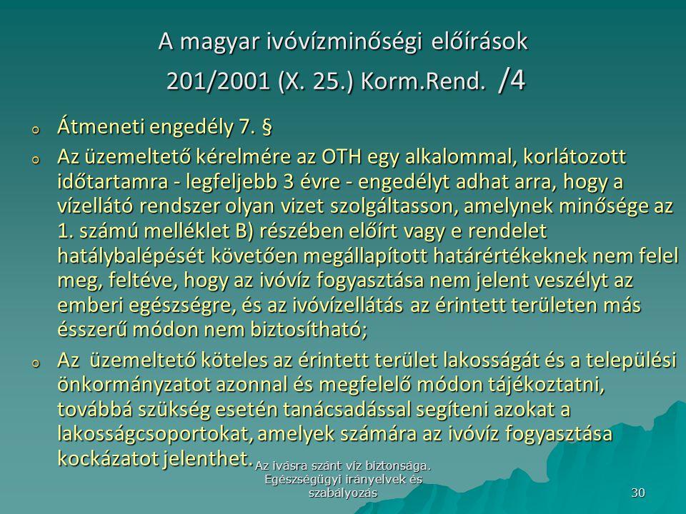 Az ivásra szánt víz biztonsága. Egészségügyi irányelvek és szabályozás 30 A magyar ivóvízminőségi előírások 201/2001 (X. 25.) Korm.Rend. /4 o Átmeneti