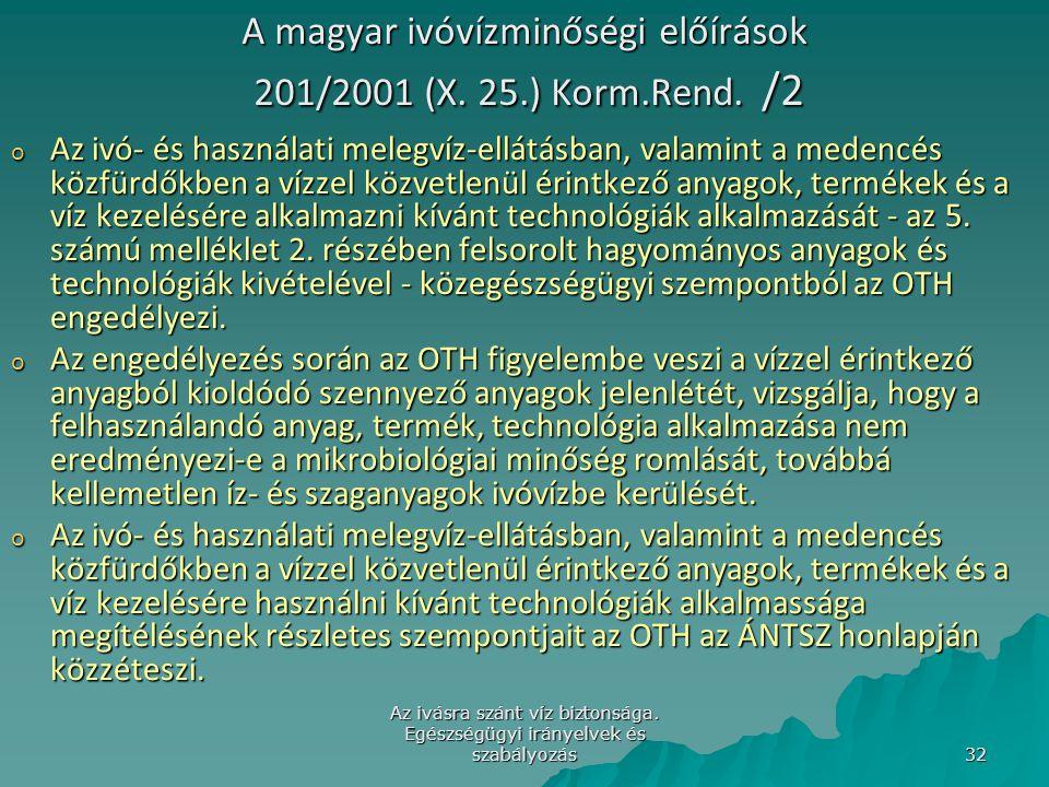 Az ivásra szánt víz biztonsága. Egészségügyi irányelvek és szabályozás 32 A magyar ivóvízminőségi előírások 201/2001 (X. 25.) Korm.Rend. /2 o Az ivó-
