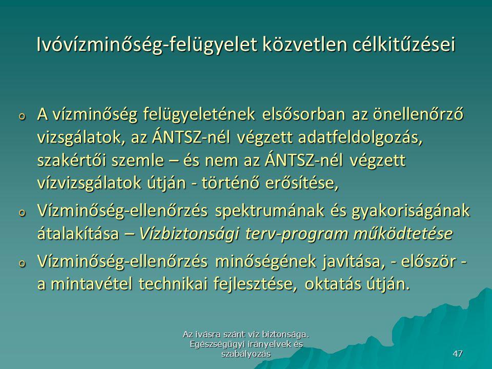 Az ivásra szánt víz biztonsága. Egészségügyi irányelvek és szabályozás 47 Ivóvízminőség-felügyelet közvetlen célkitűzései o A vízminőség felügyeleténe