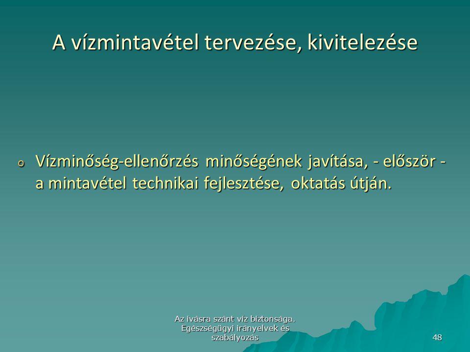 Az ivásra szánt víz biztonsága. Egészségügyi irányelvek és szabályozás 48 A vízmintavétel tervezése, kivitelezése o Vízminőség-ellenőrzés minőségének