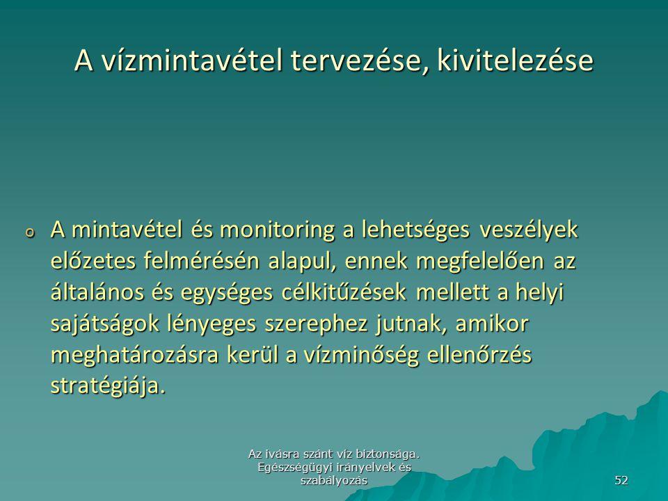 Az ivásra szánt víz biztonsága. Egészségügyi irányelvek és szabályozás 52 A vízmintavétel tervezése, kivitelezése o A mintavétel és monitoring a lehet