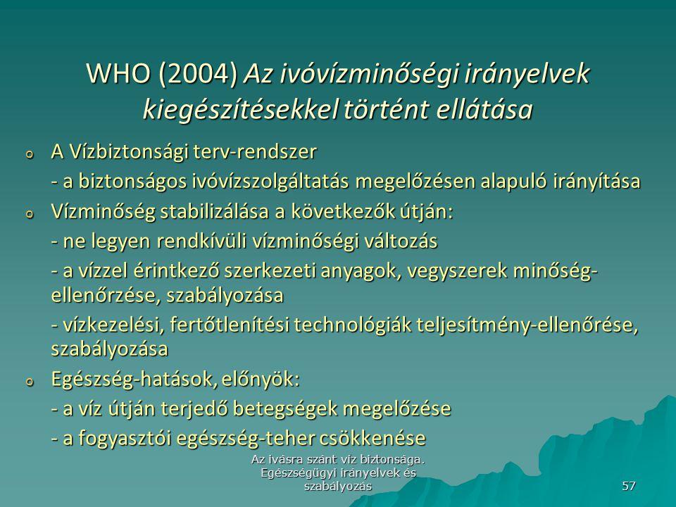 Az ivásra szánt víz biztonsága. Egészségügyi irányelvek és szabályozás 57 WHO (2004) Az ivóvízminőségi irányelvek kiegészítésekkel történt ellátása o