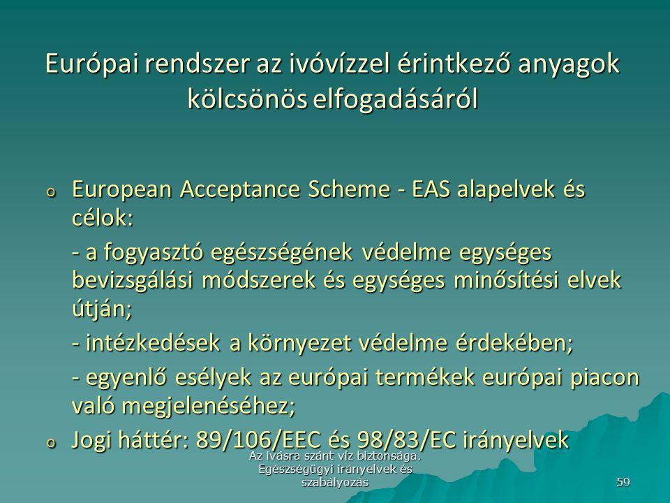 Az ivásra szánt víz biztonsága. Egészségügyi irányelvek és szabályozás 59 Európai rendszer az ivóvízzel érintkező anyagok kölcsönös elfogadásáról o Eu
