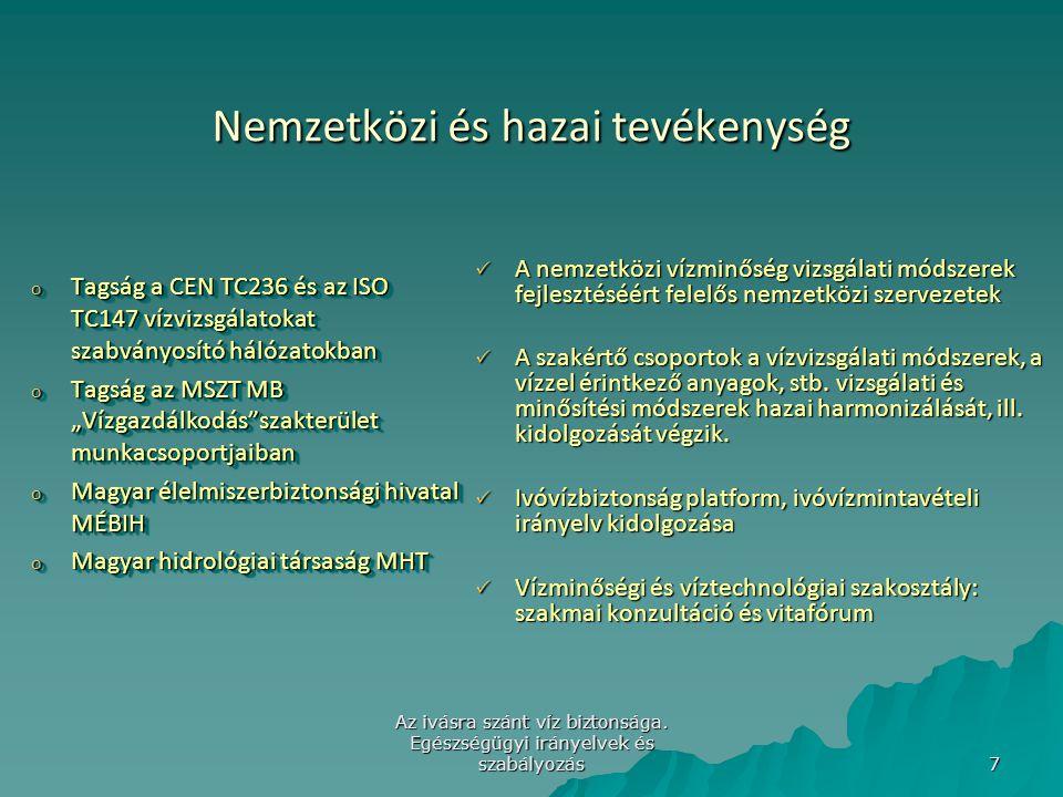Az ivásra szánt víz biztonsága. Egészségügyi irányelvek és szabályozás 7 Nemzetközi és hazai tevékenység Nemzetközi és hazai tevékenység o Tagság a CE
