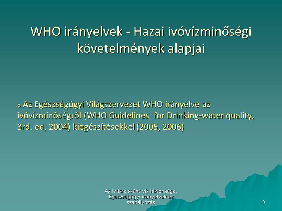 Az ivásra szánt víz biztonsága. Egészségügyi irányelvek és szabályozás 9 WHO irányelvek - Hazai ivóvízminőségi követelmények alapjai o Az Egészségügyi
