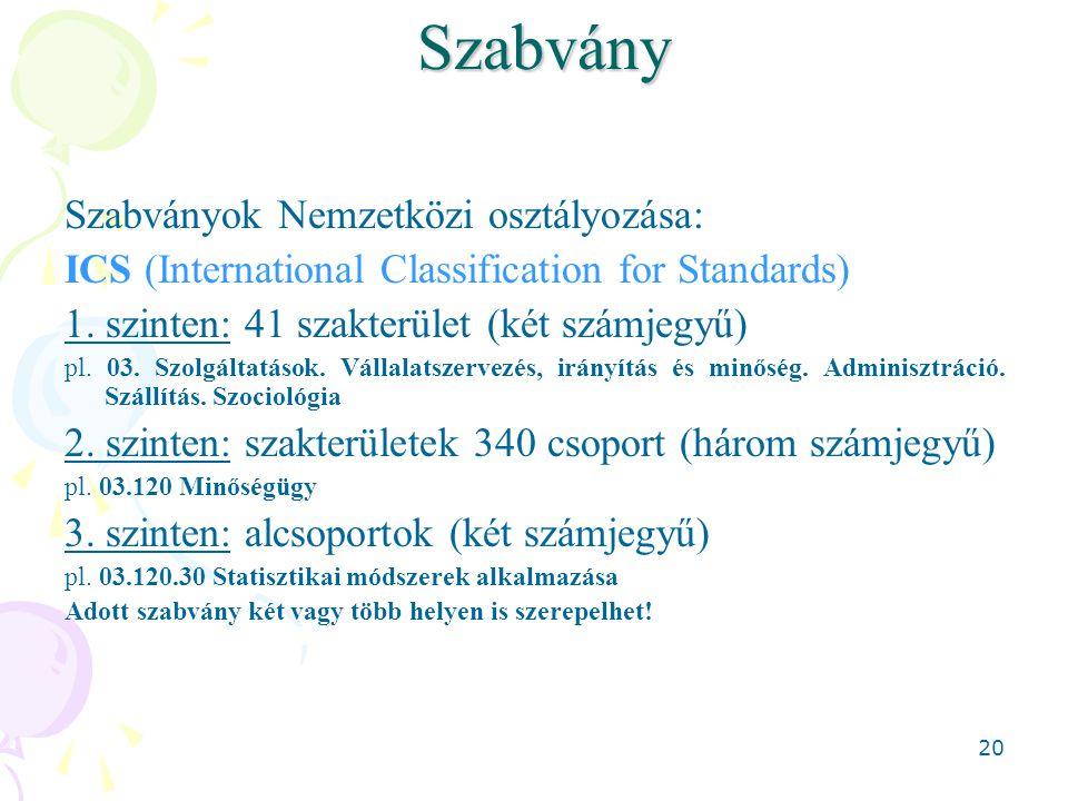 20Szabvány Szabványok Nemzetközi osztályozása: ICS (International Classification for Standards) 1. szinten: 41 szakterület (két számjegyű) pl. 03. Szo