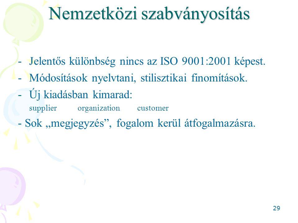 29 Nemzetközi szabványosítás -Jelentős különbség nincs az ISO 9001:2001 képest.