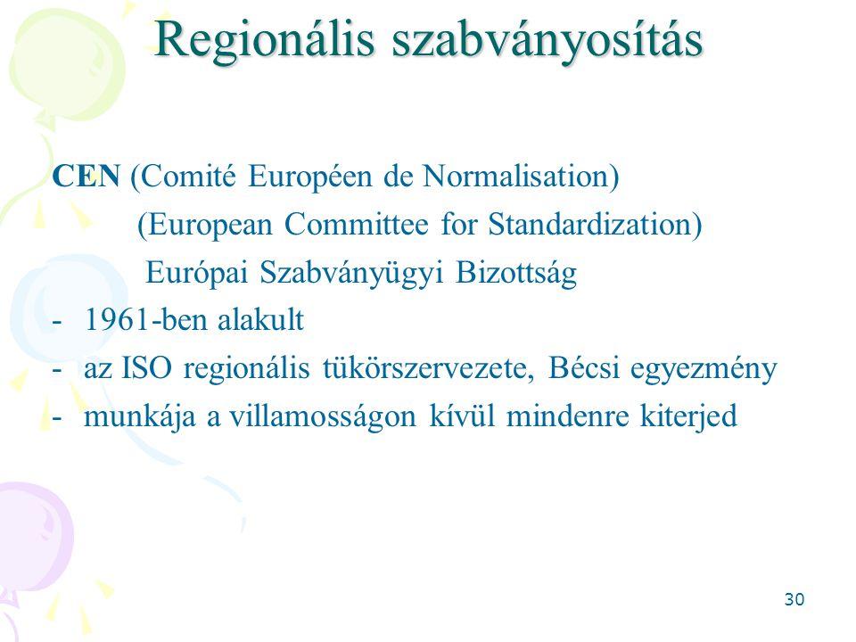 30 Regionális szabványosítás CEN (Comité Européen de Normalisation) (European Committee for Standardization) Európai Szabványügyi Bizottság -1961-ben alakult -az ISO regionális tükörszervezete, Bécsi egyezmény -munkája a villamosságon kívül mindenre kiterjed