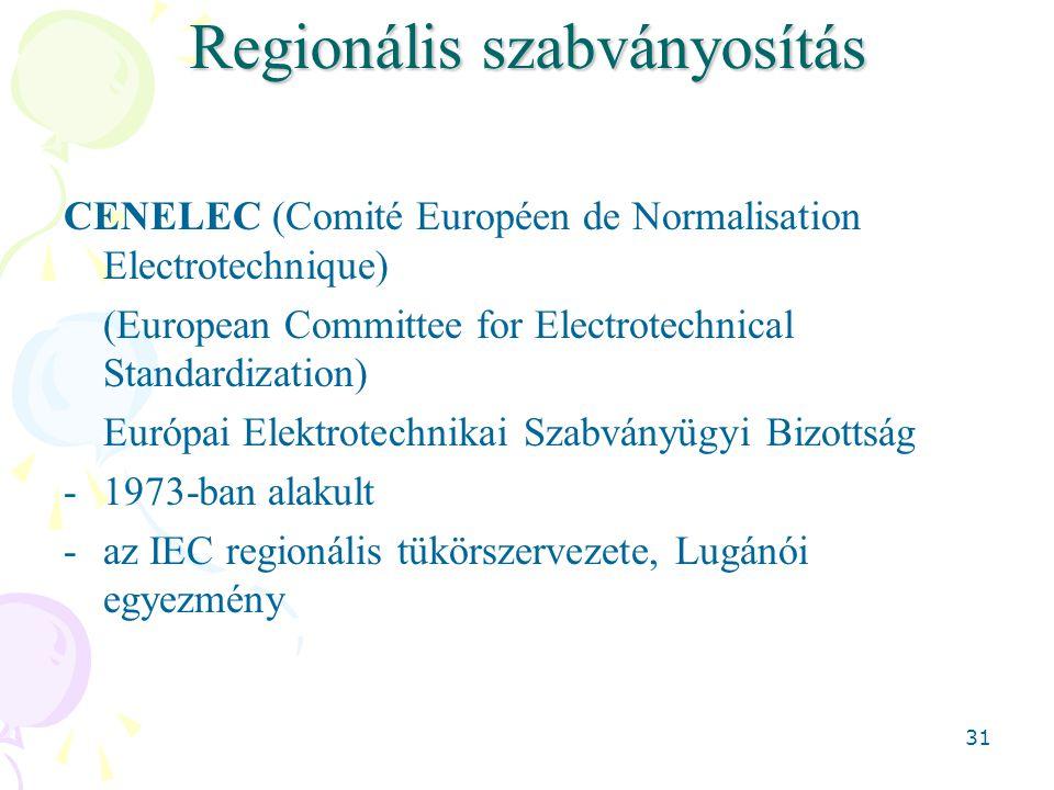 31 Regionális szabványosítás CENELEC (Comité Européen de Normalisation Electrotechnique) (European Committee for Electrotechnical Standardization) Európai Elektrotechnikai Szabványügyi Bizottság -1973-ban alakult -az IEC regionális tükörszervezete, Lugánói egyezmény
