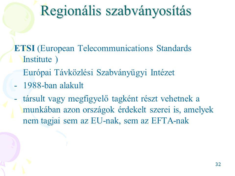 32 Regionális szabványosítás ETSI (European Telecommunications Standards Institute ) Európai Távközlési Szabványügyi Intézet -1988-ban alakult -társult vagy megfigyelő tagként részt vehetnek a munkában azon országok érdekelt szerei is, amelyek nem tagjai sem az EU-nak, sem az EFTA-nak