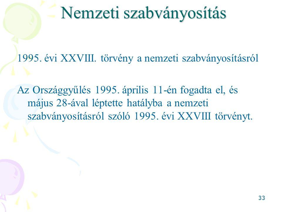 33 Nemzeti szabványosítás 1995. évi XXVIII. törvény a nemzeti szabványosításról Az Országgyűlés 1995. április 11-én fogadta el, és május 28-ával lépte