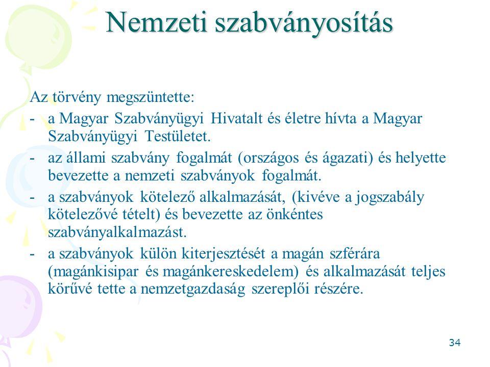 34 Nemzeti szabványosítás Az törvény megszüntette: -a Magyar Szabványügyi Hivatalt és életre hívta a Magyar Szabványügyi Testületet. -az állami szabvá