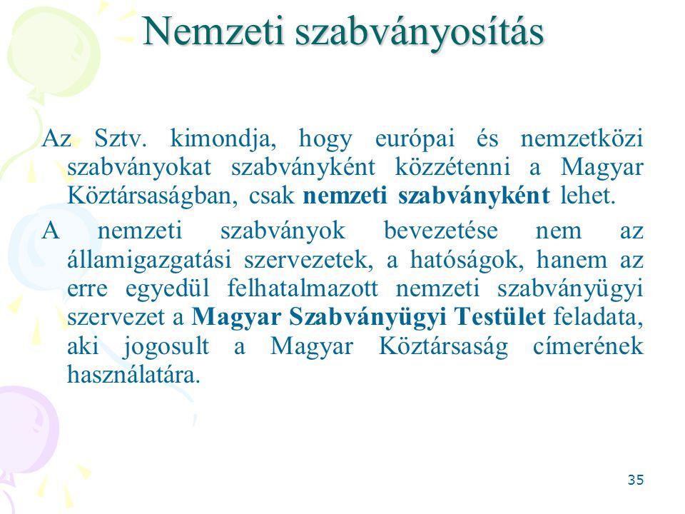 35 Nemzeti szabványosítás Az Sztv. kimondja, hogy európai és nemzetközi szabványokat szabványként közzétenni a Magyar Köztársaságban, csak nemzeti sza