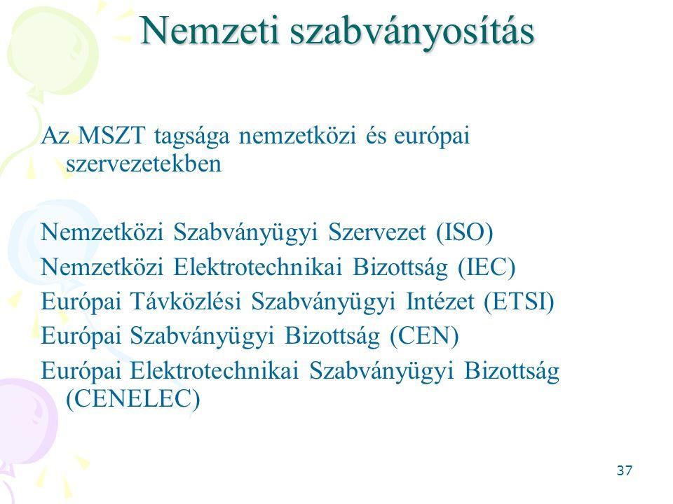 37 Nemzeti szabványosítás Az MSZT tagsága nemzetközi és európai szervezetekben Nemzetközi Szabványügyi Szervezet (ISO) Nemzetközi Elektrotechnikai Bizottság (IEC) Európai Távközlési Szabványügyi Intézet (ETSI) Európai Szabványügyi Bizottság (CEN) Európai Elektrotechnikai Szabványügyi Bizottság (CENELEC)