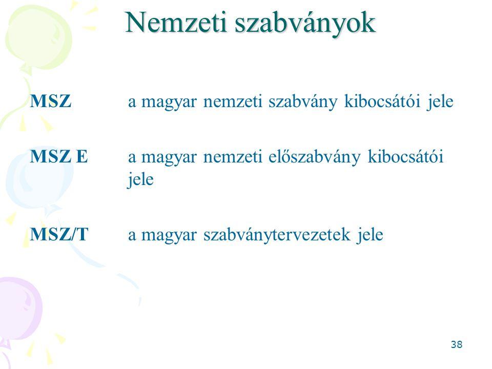 38 Nemzeti szabványok MSZ a magyar nemzeti szabvány kibocsátói jele MSZ E a magyar nemzeti előszabvány kibocsátói jele MSZ/T a magyar szabványtervezet