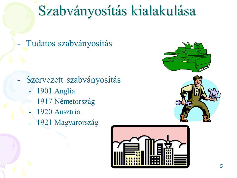 5 Szabványosítás kialakulása -Tudatos szabványosítás -Szervezett szabványosítás -1901 Anglia -1917 Németország -1920 Ausztria -1921 Magyarország
