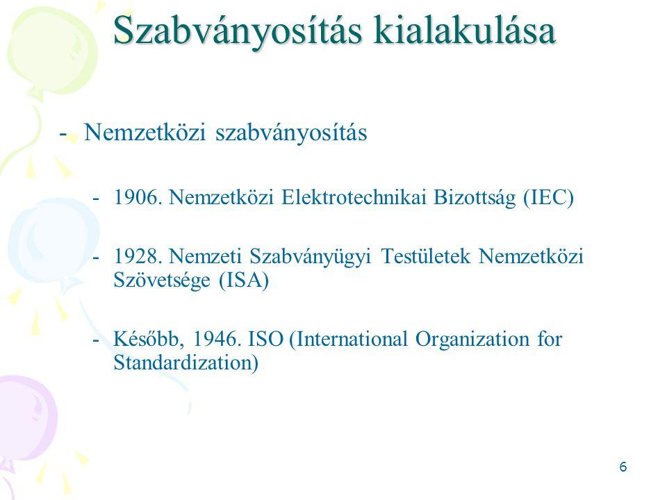6 Szabványosítás kialakulása -Nemzetközi szabványosítás -1906. Nemzetközi Elektrotechnikai Bizottság (IEC) -1928. Nemzeti Szabványügyi Testületek Nemz