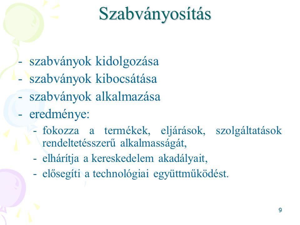 20Szabvány Szabványok Nemzetközi osztályozása: ICS (International Classification for Standards) 1.