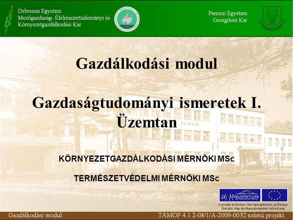 Gazdálkodási modul Gazdaságtudományi ismeretek I. Üzemtan KÖRNYEZETGAZDÁLKODÁSI MÉRNÖKI MSc TERMÉSZETVÉDELMI MÉRNÖKI MSc