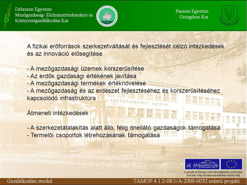A fizikai erőforrások szerkezetváltását és fejlesztését célzó intézkedések és az innováció elősegítése - A mezőgazdasági üzemek korszerűsítése - Az erdők gazdasági értékének javítása - A mezőgazdasági termékek értéknövelése - A mezőgazdaság és az erdészet fejlesztéséhez és korszerűsítéséhez kapcsolódó infrastruktúra Átmeneti intézkedések - A szerkezetátalakítás alatt álló, félig önellátó gazdaságok támogatása - Termelői csoportok létrehozásának támogatása A fizikai erőforrások szerkezetváltását és fejlesztését célzó intézkedések és az innováció elősegítése - A mezőgazdasági üzemek korszerűsítése - Az erdők gazdasági értékének javítása - A mezőgazdasági termékek értéknövelése - A mezőgazdaság és az erdészet fejlesztéséhez és korszerűsítéséhez kapcsolódó infrastruktúra Átmeneti intézkedések - A szerkezetátalakítás alatt álló, félig önellátó gazdaságok támogatása - Termelői csoportok létrehozásának támogatása