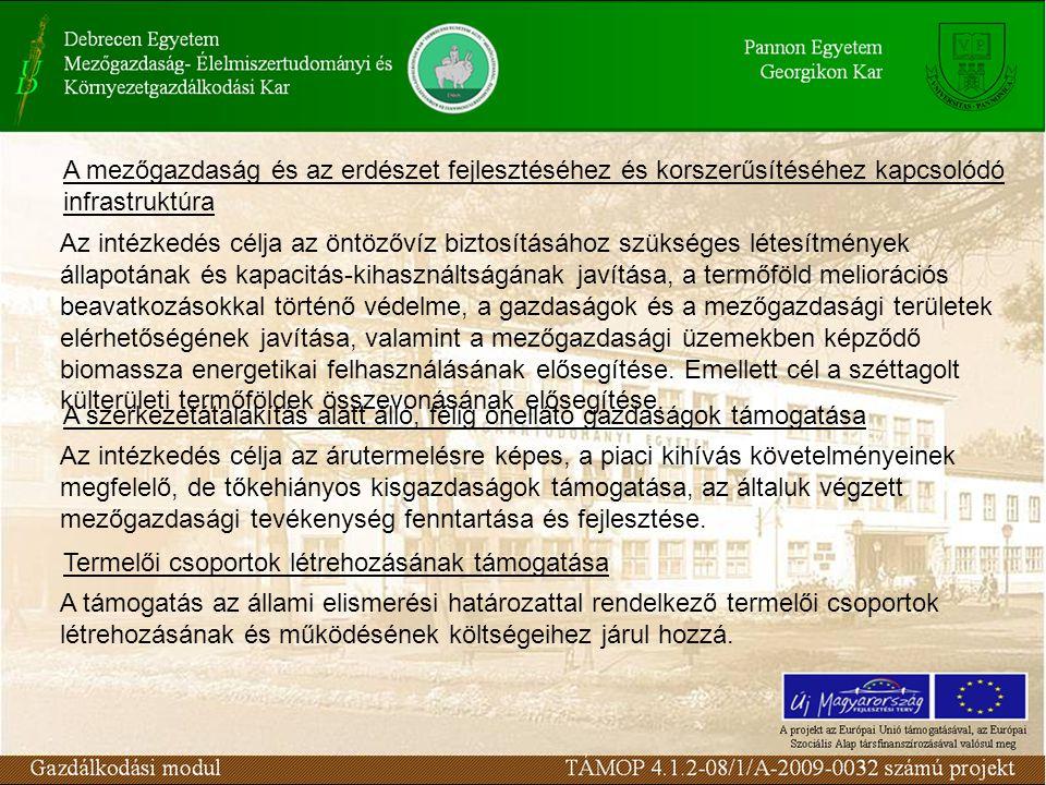A mezőgazdaság és az erdészet fejlesztéséhez és korszerűsítéséhez kapcsolódó infrastruktúra Az intézkedés célja az öntözővíz biztosításához szükséges létesítmények állapotának és kapacitás-kihasználtságának javítása, a termőföld meliorációs beavatkozásokkal történő védelme, a gazdaságok és a mezőgazdasági területek elérhetőségének javítása, valamint a mezőgazdasági üzemekben képződő biomassza energetikai felhasználásának elősegítése.