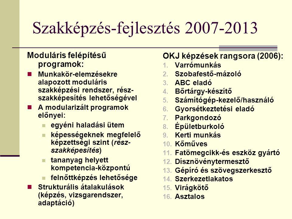 Szakképzés-fejlesztés 2007-2013 Moduláris felépítésű programok: Munkakör-elemzésekre alapozott moduláris szakképzési rendszer, rész- szakképesítés leh