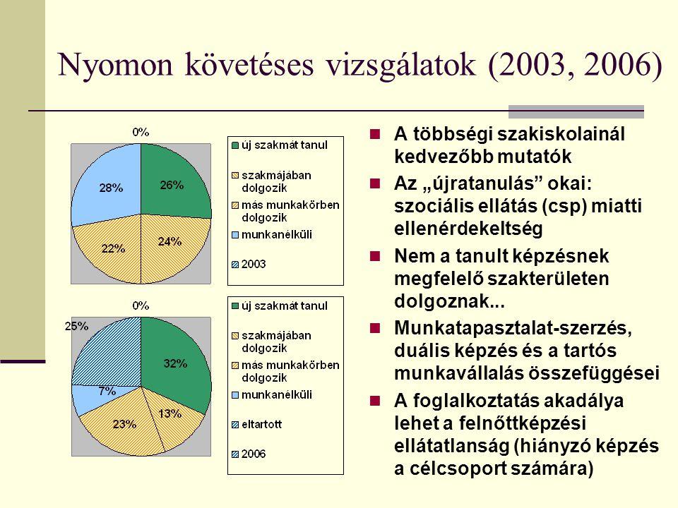 """Nyomon követéses vizsgálatok (2003, 2006) A többségi szakiskolainál kedvezőbb mutatók Az """"újratanulás"""" okai: szociális ellátás (csp) miatti ellenérdek"""