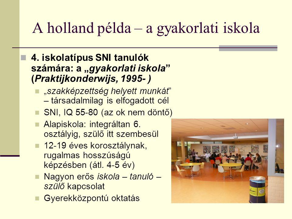 """A holland példa – a gyakorlati iskola 4. iskolatípus SNI tanulók számára: a """"gyakorlati iskola"""" (Praktijkonderwijs, 1995- ) """"szakképzettség helyett mu"""