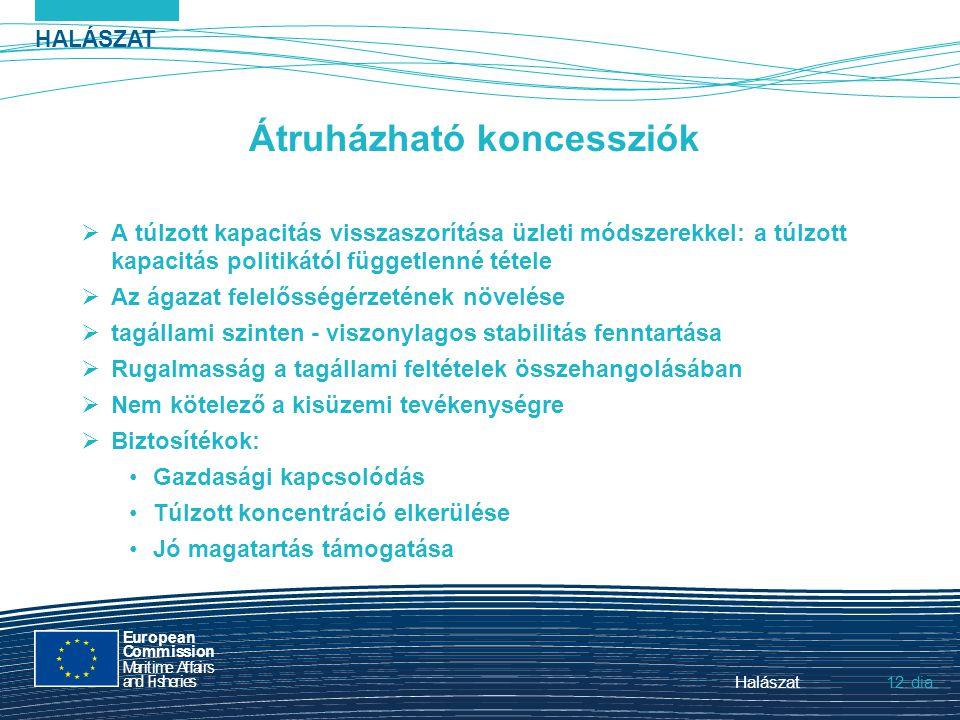 HALÁSZAT dia European Commission MaritimeAffairs andFisheries Halászat12. Átruházható koncessziók  A túlzott kapacitás visszaszorítása üzleti módszer