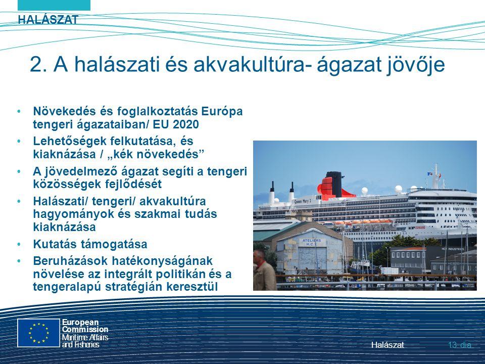 HALÁSZAT dia European Commission MaritimeAffairs andFisheries Halászat13. 2. A halászati és akvakultúra- ágazat jövője Növekedés és foglalkoztatás Eur