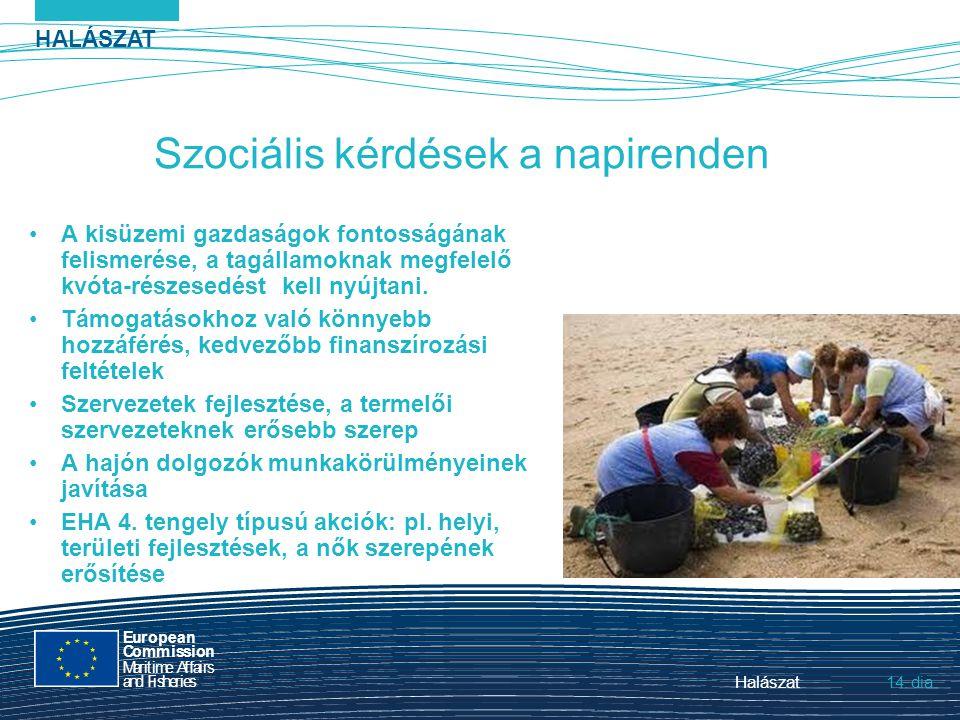 HALÁSZAT dia European Commission MaritimeAffairs andFisheries Halászat14. Szociális kérdések a napirenden A kisüzemi gazdaságok fontosságának felismer