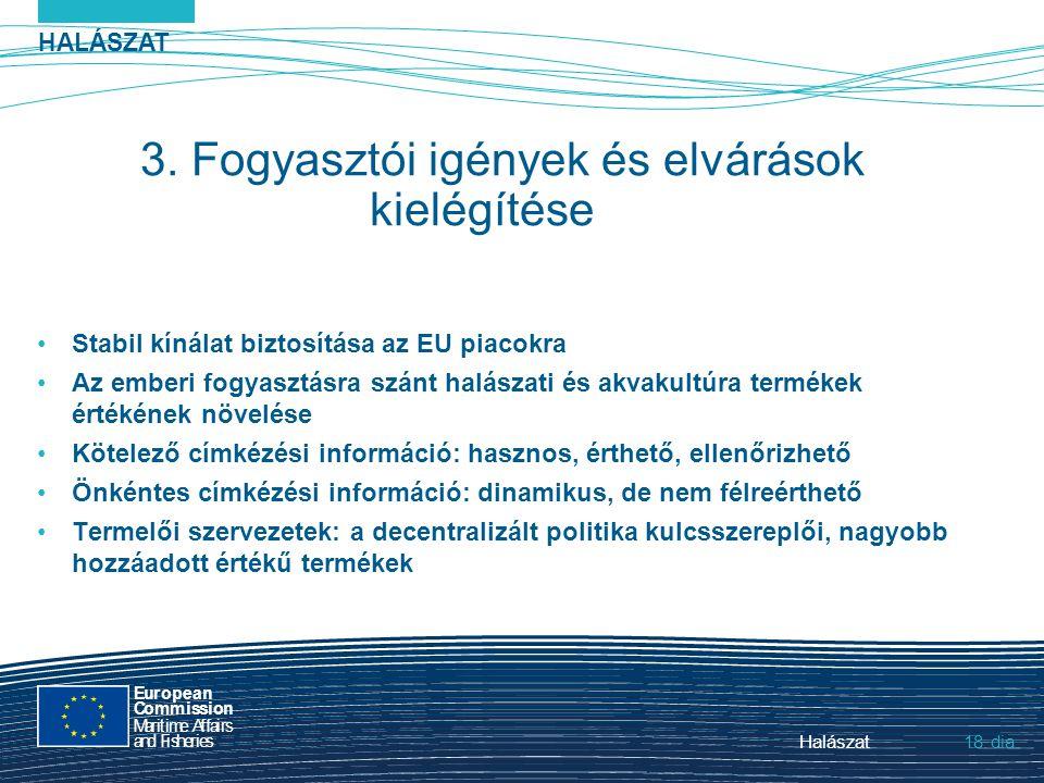 HALÁSZAT dia European Commission MaritimeAffairs andFisheries Halászat18. 3. Fogyasztói igények és elvárások kielégítése Stabil kínálat biztosítása az