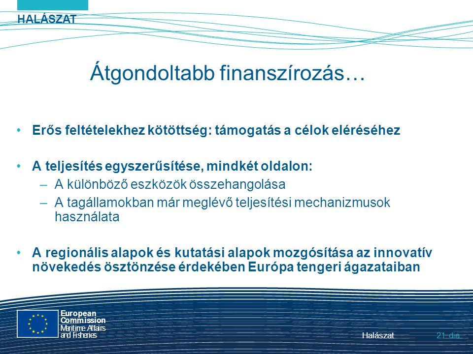 HALÁSZAT dia European Commission MaritimeAffairs andFisheries Halászat21. Átgondoltabb finanszírozás… Erős feltételekhez kötöttség: támogatás a célok