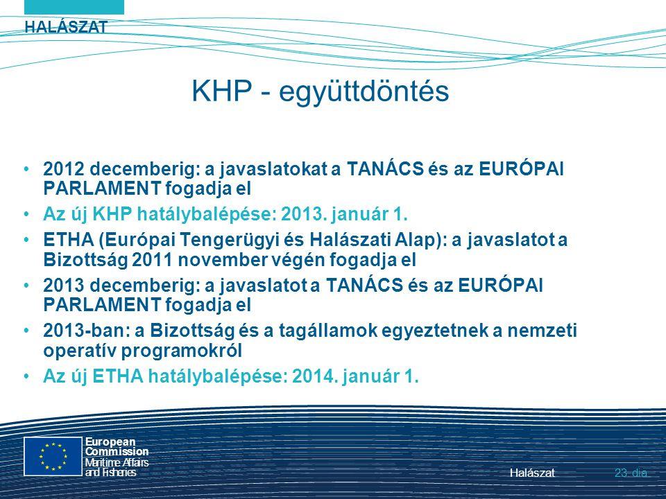 HALÁSZAT dia European Commission MaritimeAffairs andFisheries Halászat23. KHP - együttdöntés 2012 decemberig: a javaslatokat a TANÁCS és az EURÓPAI PA