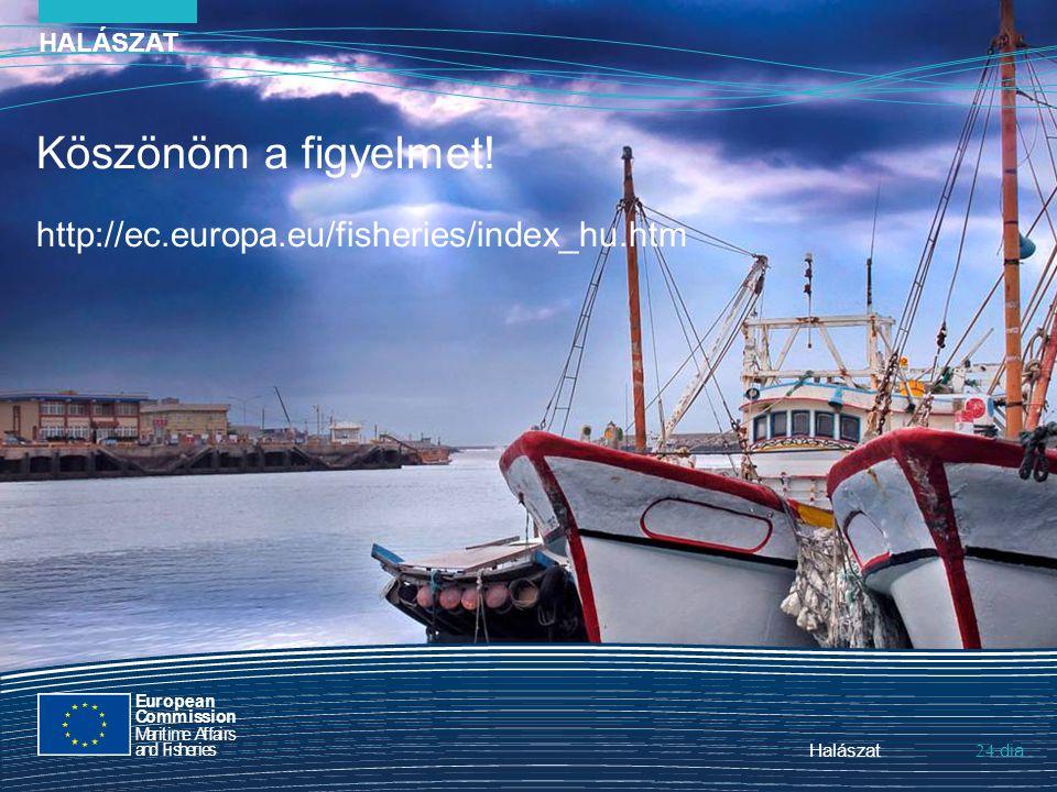 Halászat 24. HALÁSZAT dia Köszönöm a figyelmet! http://ec.europa.eu/fisheries/index_hu.htm European Commission MaritimeAffairs andFisheries