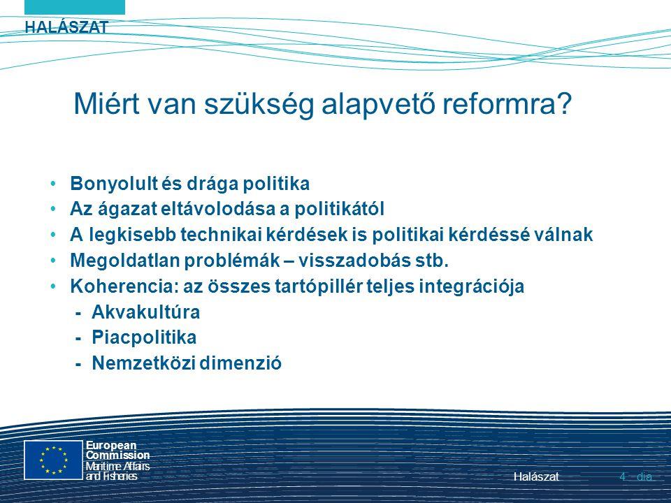 HALÁSZAT dia European Commission MaritimeAffairs andFisheries Halászat4.4. Miért van szükség alapvető reformra? Bonyolult és drága politika Az ágazat