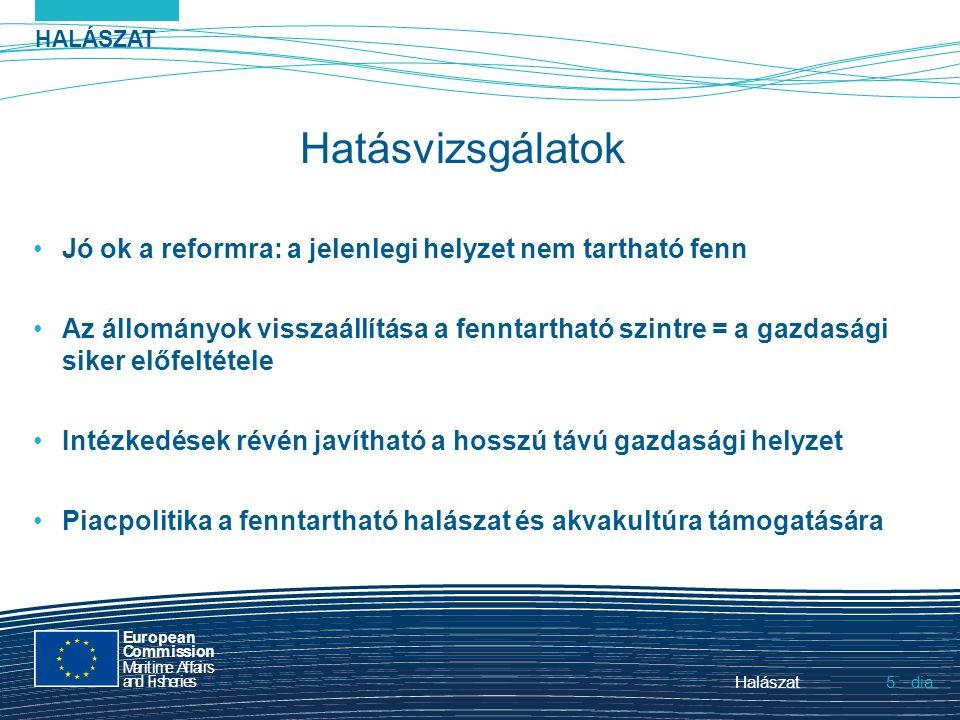 HALÁSZAT dia European Commission MaritimeAffairs andFisheries Halászat5.5. Hatásvizsgálatok Jó ok a reformra: a jelenlegi helyzet nem tartható fenn Az